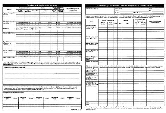 Printable Immunization Record Form