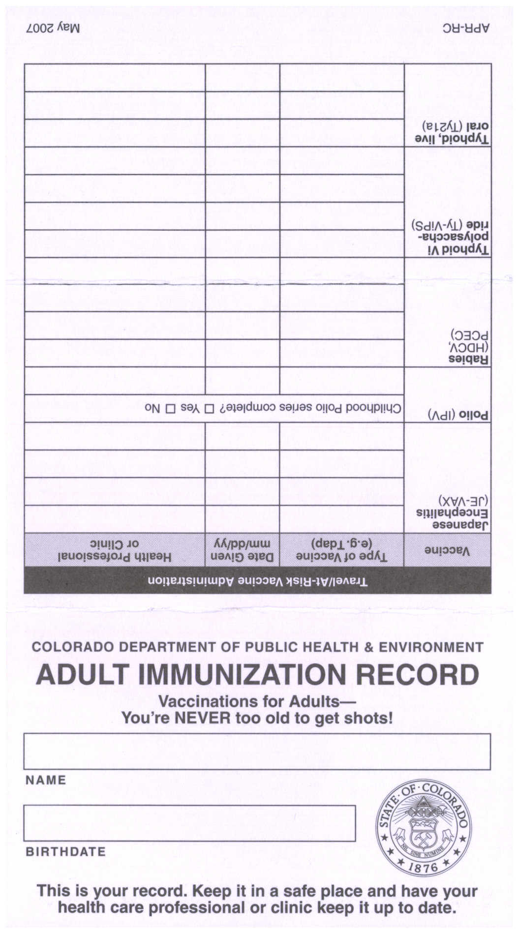 Colorado Immunization Program Printed Materials Order Form