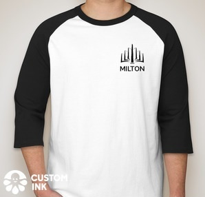 A white baseball-style T-shirt with black elbow-length sleeves and the MILTON logo in black on the upper left side of the chest.