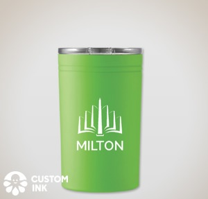 A bright green insulated drinks tumbler with the MILTON logo in white.