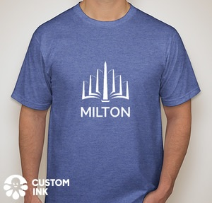 A heather blue, short-sleeved T-shirt with the MILTON logo large and centered on the chest in white.