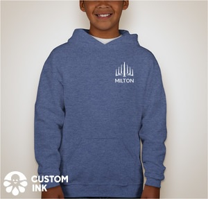 A heather blue pullover hoodie with the MILTON logo in white on the upper left chest.