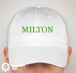 A white baseball cap with the word