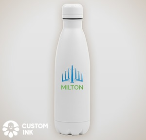A white metal water bottle with the full-color MILTON logo.