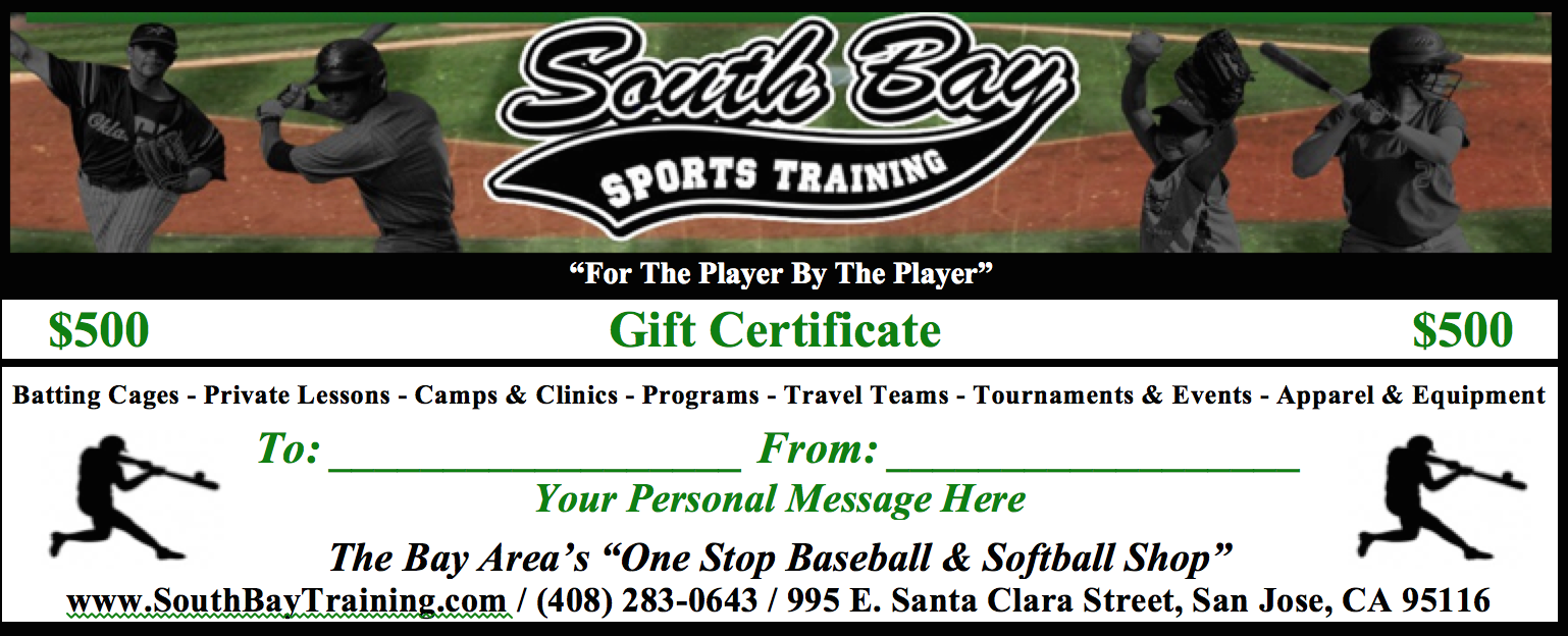 Gift cards south bay sports training batting cages gift certificate information xflitez Gallery